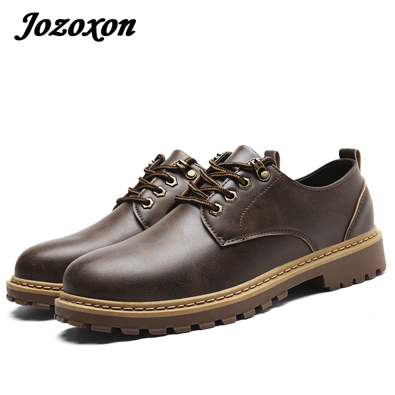 Jozoxon Men Boots Lace-Up Autumn Leather Martin Boots Men Waterproof Work Tooling Winter Ankle Boots Casual Dress Oxford Shoes zosuo men boots buckle desert british male boots leather martin boots tide retro tooling men s shoes zs337