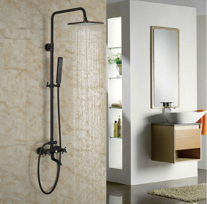 Double Handles With Hand Shower Oil Rubbed Bronze Shower Faucet 8-in Rainfall Shower Jet