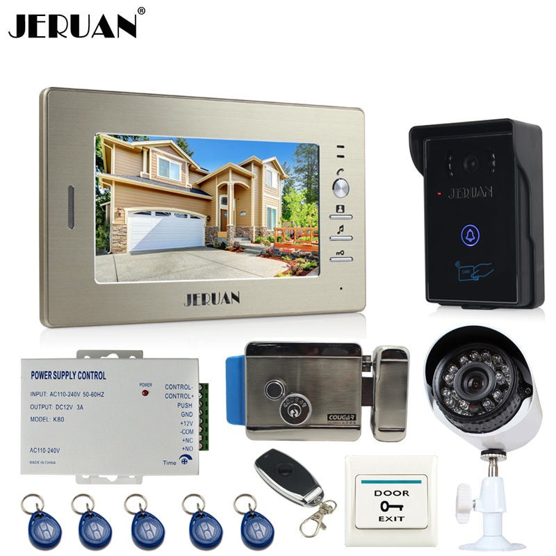 JERUAN perfect 7`` LCD video door phone intercom System monitor brand new RFID waterproof Touch Camera+700TVL Analog Camera jeruan home 7 video door phone intercom system kit rfid waterproof touch key password keypad camera remote control in stock
