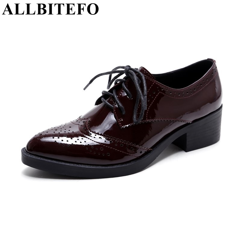 ALLBITEFO 2017 new arrive full genuine leather pointed toe high heel shoes women pumps fashion thick heel lace-up high heels women s genuine leather patchwork lace up pumps brand designer thick high heel spring autumn high quality punk shoes for women