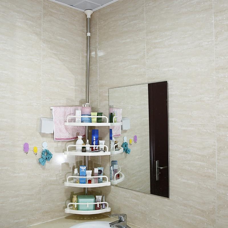 4 Tier Bathroom Corner Shower Shelf Rack Wall Corner Rack Storage Holder Adjustable Telescopic