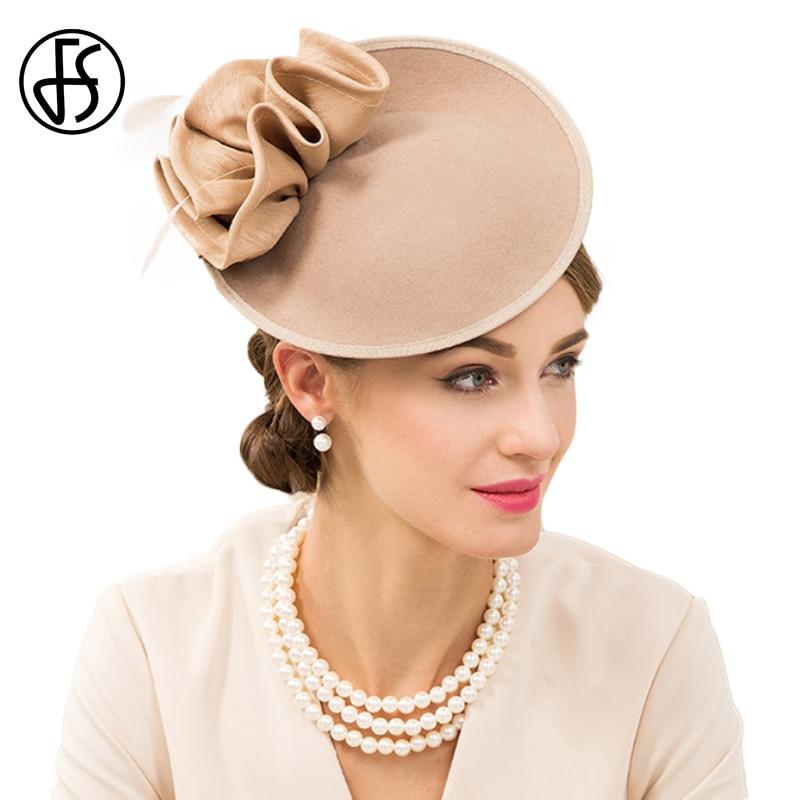 4c2633c790bb0 FS British Hats For Women 100% Wool Pillbox Hat Khaki Felt Fedora Vintage  Flower Wedding Fascinator Ladies Derby Church Hat-in Fedoras from Apparel  ...