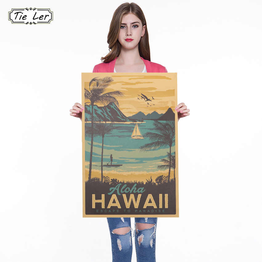 Vintage Poster Hawaii Drawing Kraft Paper Bar Poster Retro Decorative for Kid Room Wall Sticker 51x34cm