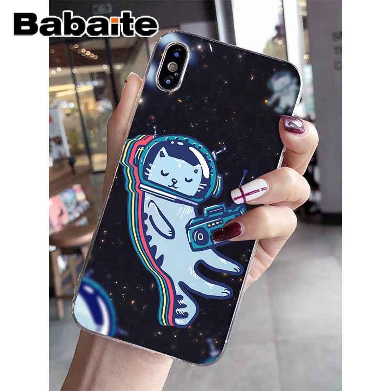 Astronauta Babaite Gato cão fox Acessórios Do Telefone Macio Caso de Telefone Celular para o iphone 8 7 6 6 S Plus X XS MAX 5 5S SE XR Cobertura Móvel