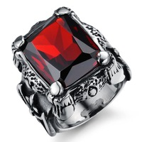 Vintage Retro Wide Anillos Gothic Biker Jewelry Alliances Large Big Natural Stone Men Class Male Ruby
