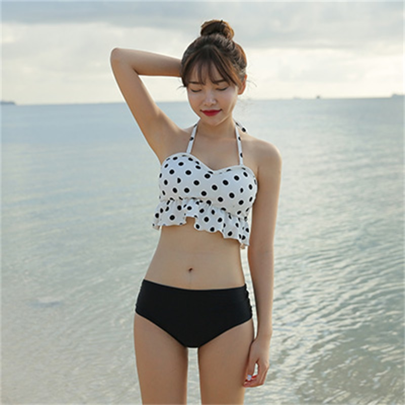 2017 Polka Dot Bikinis Set Swimwear Push Up High Waist Bikini Sexy Swimsuit Women Monokini Femme Beach Suit Halter Bathing Suit polka dot print women swimwear sexy push up bikini brand high waist swimsuit