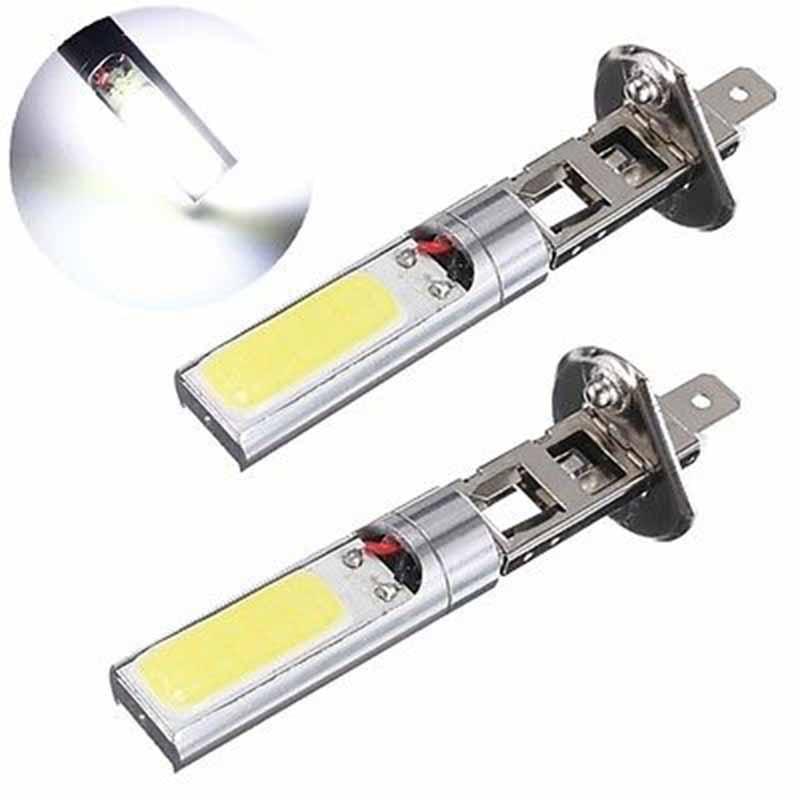 2pcs/lot DC 12V H1 COB LED Car Fog Light Headlight DRL Daytime Running Light Replacement Bulb Super Bright White Lighting Lamp