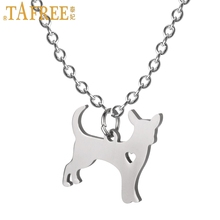 TAFREE cute animal Mexico Chihuahua Canis lupus familiaris charm stainless steel dog pendant women choker necklace jewelry SKU12