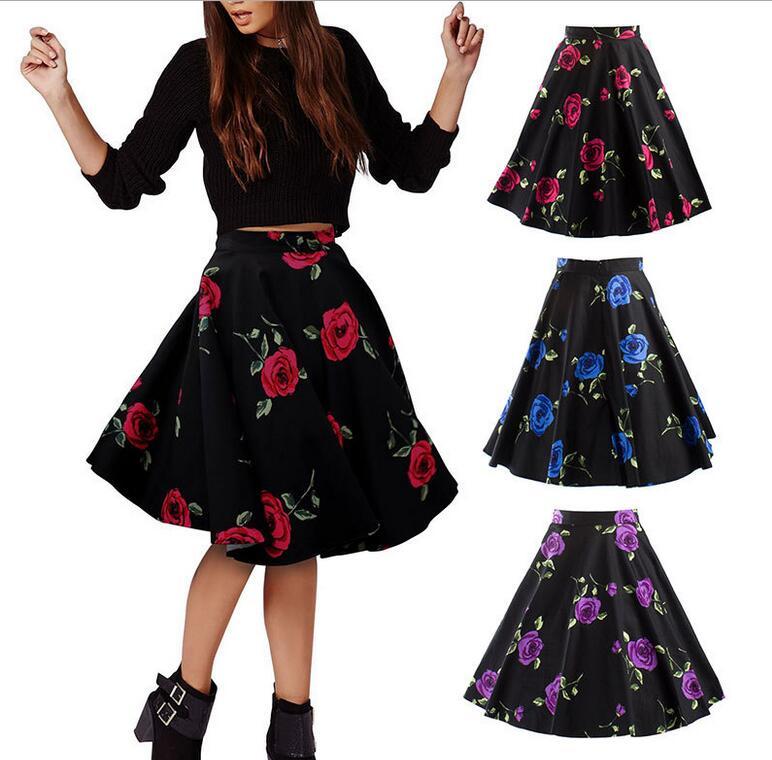 Skirts Womens Sexy American Apparel Midi Skirt Floral Print Dot Black Red Blue Plus Size Summer High Waist Skirt Tutu faldas