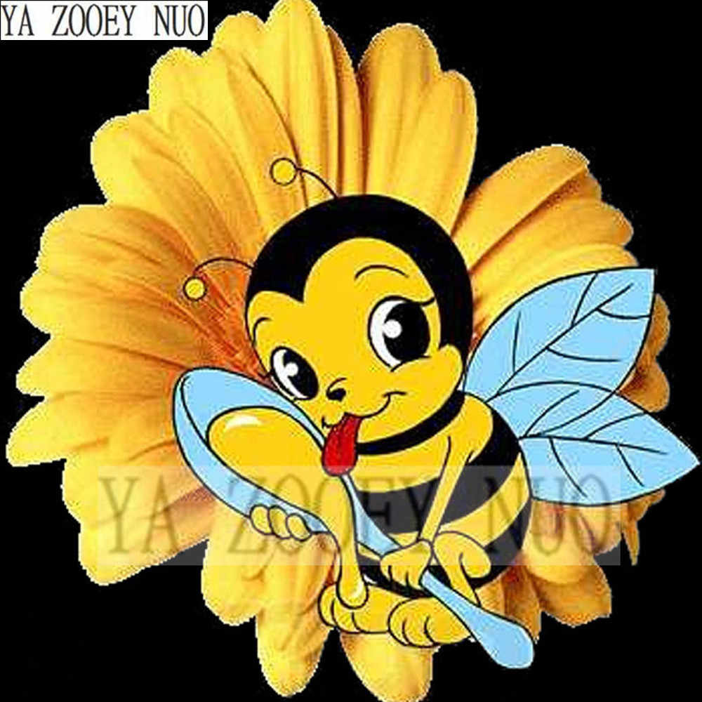 Cartoon DIY Diamond Painting Cross stitch Crystal mosaic Needlework 5D Diamond Embroidery Bees eat honey child decor gift K1106