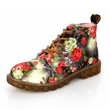 COZULMA Women Classic Floral Lace-up Boots Female Autumn Fashion Shoes Flower Print Non-slip Ankle Size 35-40