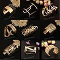 Wholesale 12PC Fashion vintage engravable plain gold wide cuff bangle bracelet arm cuff bracelets for women party accessories