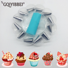 1Pc Silicone Pastry Bag +13PCS Stainless Steel Nozzle  Semi-automatic Handheld Flour Sieve Baking Tools