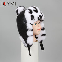 ICYMI Winter Real Full Pelt Rex Rabbit Fur With Sheepskin Fabric Bomber Hats Children Kids Girl Bomber Cap Cute Earmuff Hat Cap