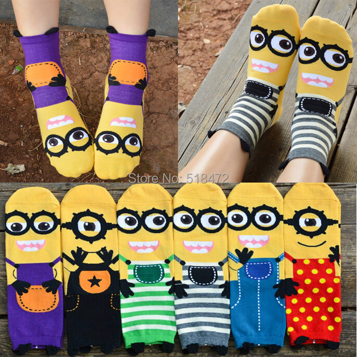 Minions cute cartoon 3D socks Spring and summer style Fashion