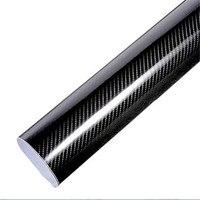 Car Styling 200cm 50cm Glossy Black 5D Carbon Fiber Vinyl Film Car Wrap With Air Free