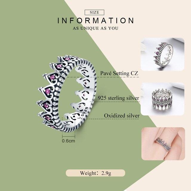 WOSTU 100% 925 Sterling Silver Romantico Impilabile Crown Cuore Rosa CZ Anelli per Le Donne Belle Gioielli In Argento Regalo Anel CQR257