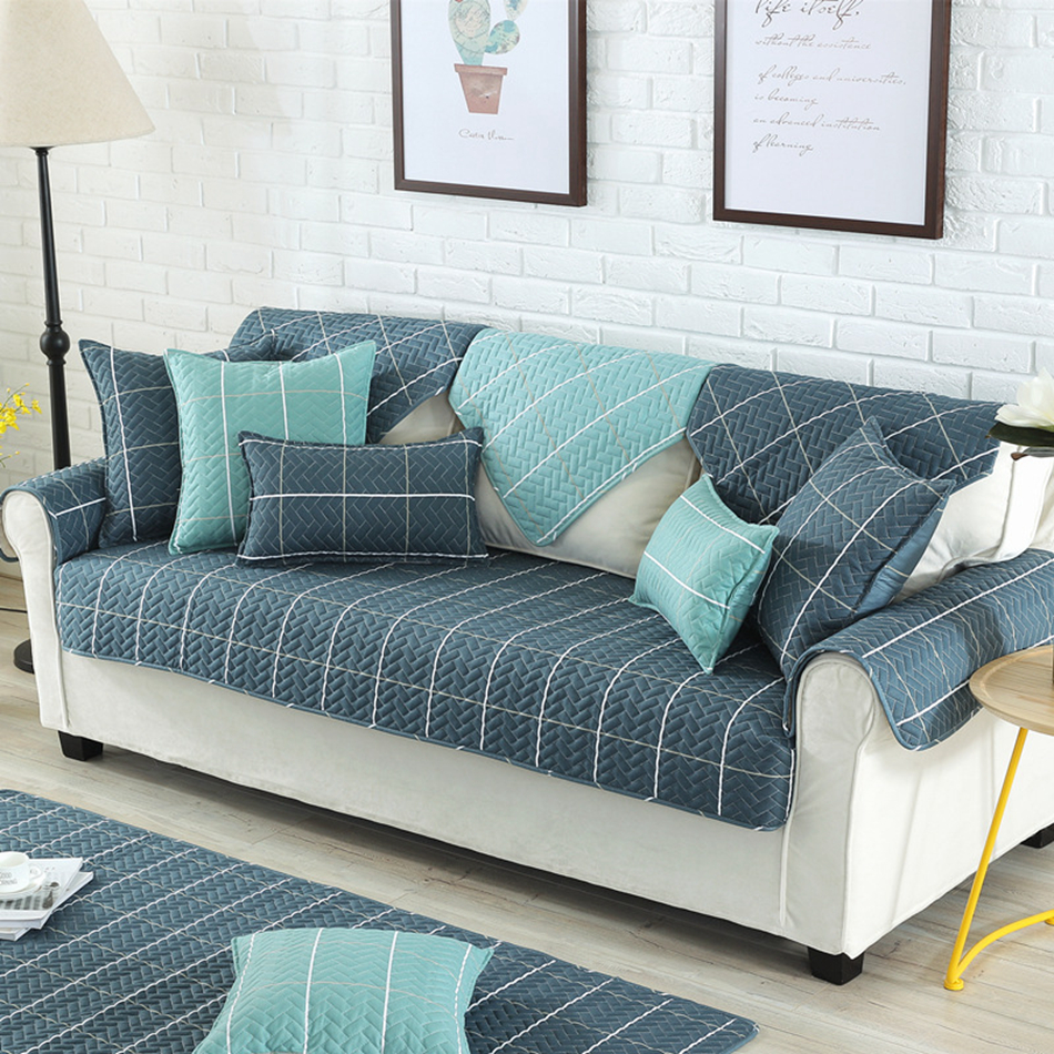 Cheap Sectional Sofa Us 15 8 100 Cotton 1pc Plaid Sectional Sofa Cover Cheap Printed Sofa Covers Brief Style Geometric Sofa Set Living Room Furniture In Sofa Cover From