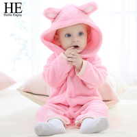 Baby Girl Clothes Kids Winter 2017 Fashion Character Warm Baby Bodysuits Long Sleeve Hooded Jumpsuit Sleepwear