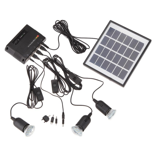 4W Solar Powered Panel 3 LED Light Lamp USB 5V Cell Mobile Phone ...