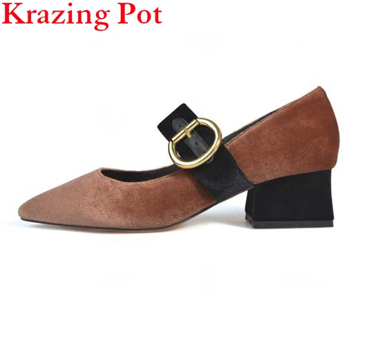 2017 Fashion Brand Spring Shoes Black Pointed Toe Velvet Thick Heel Women Pumps Party Mary Janes Office Lady Wedding Shoes L6f3 2017 new fashion brand spring shoes large size crystal pointed toe kid suede thick heel women pumps party sweet office lady shoe