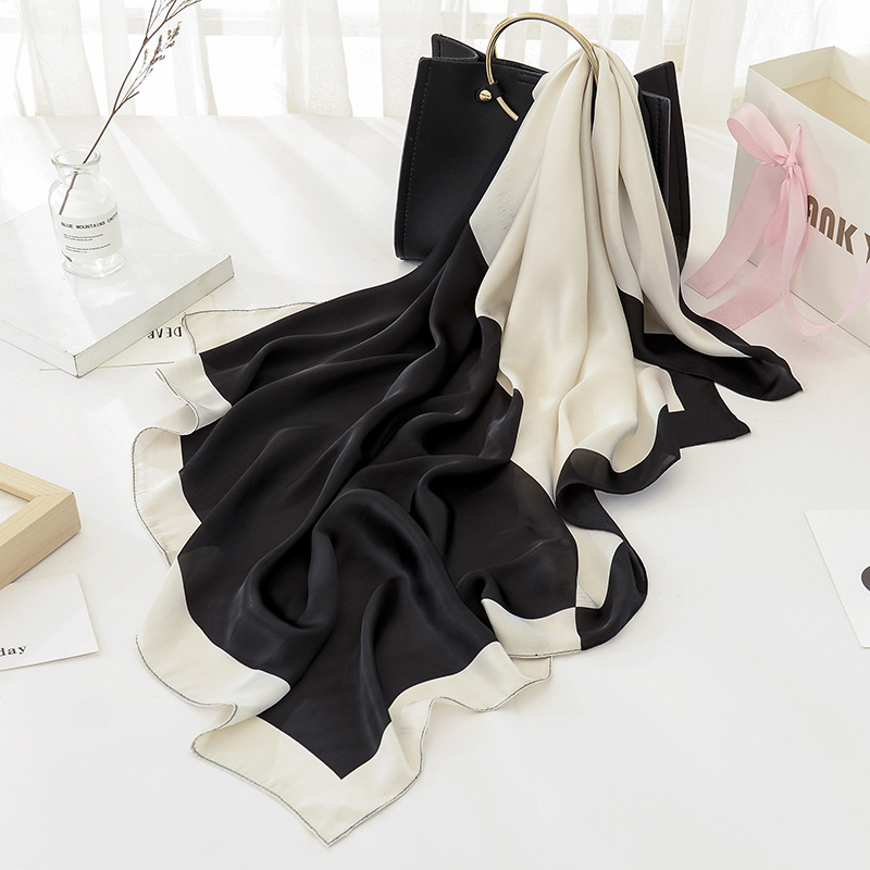 Fashion Luxury Brand Black Women   Scarf   100% Silk Feeling Shawl   Scarf   Foulard Plaid Square Head   Scarves     Wraps   2017 NEW 90x90cm