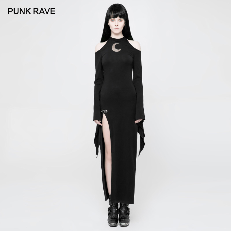 PUNK RAVE Gothic Cold Shoulder Elegant Long Evening Black Dress Women Sexy Dresses Moon Pattern Stage