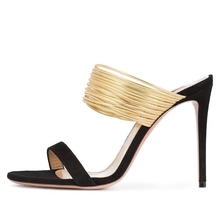 2018 Newest Sexy Flock Metal Decoration High Heel Sandals Woman European American Summer Black Red Party Dress Shoes