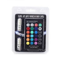 1Set Multi Color Auto Car Led Light T10 6 SMD 5050 RGB LED W5W 194 168 Automotive LED Bulb Flash Strobe With Remote Controller