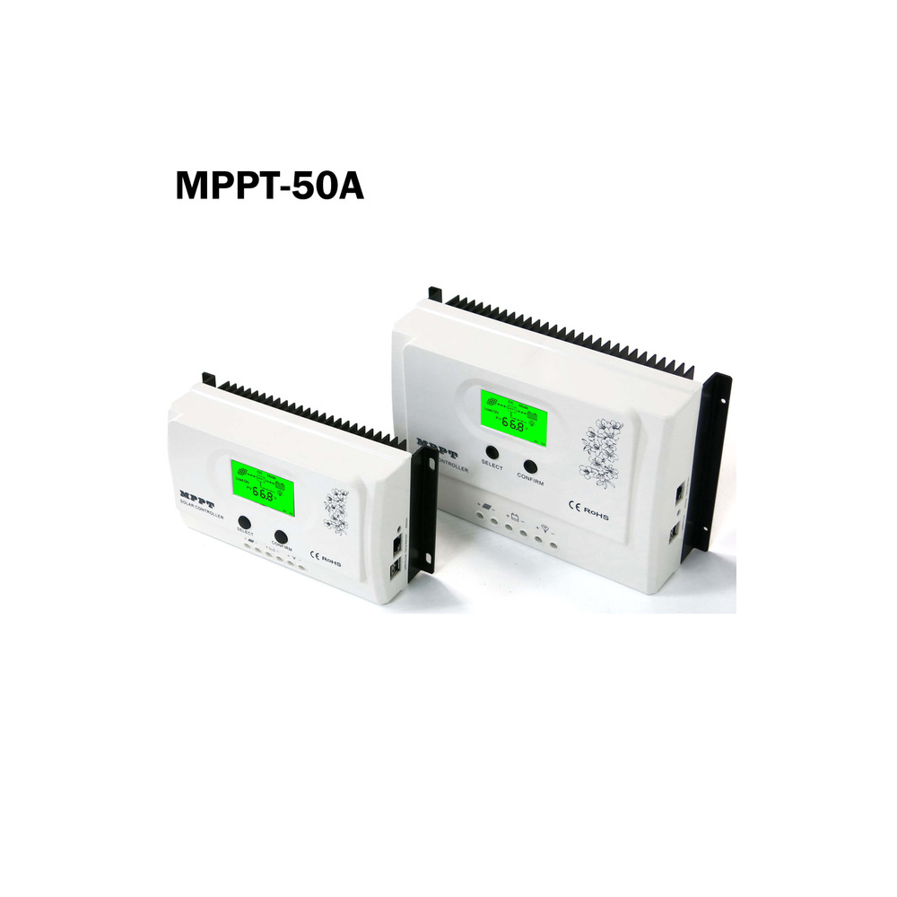 50A 40A 30A 20A 15A MPPT Solar Charge Controller with Big Backlight LCD Display 12V 24V Solar Regulator