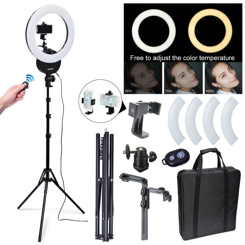 Studio Falconeyes RLE-332VC LED Dimmable Ring Light 32W 42cm 3000K~5600K + 185cm Stand 3 ...