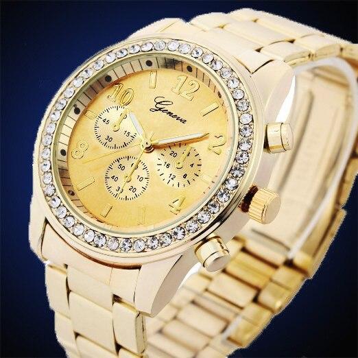 New 2017 Relogio Feminino Luxury Brand Watches Women Ladies Gold Diamond Stainless Steel Band Quartz Wrist Watches Clock GENEVA