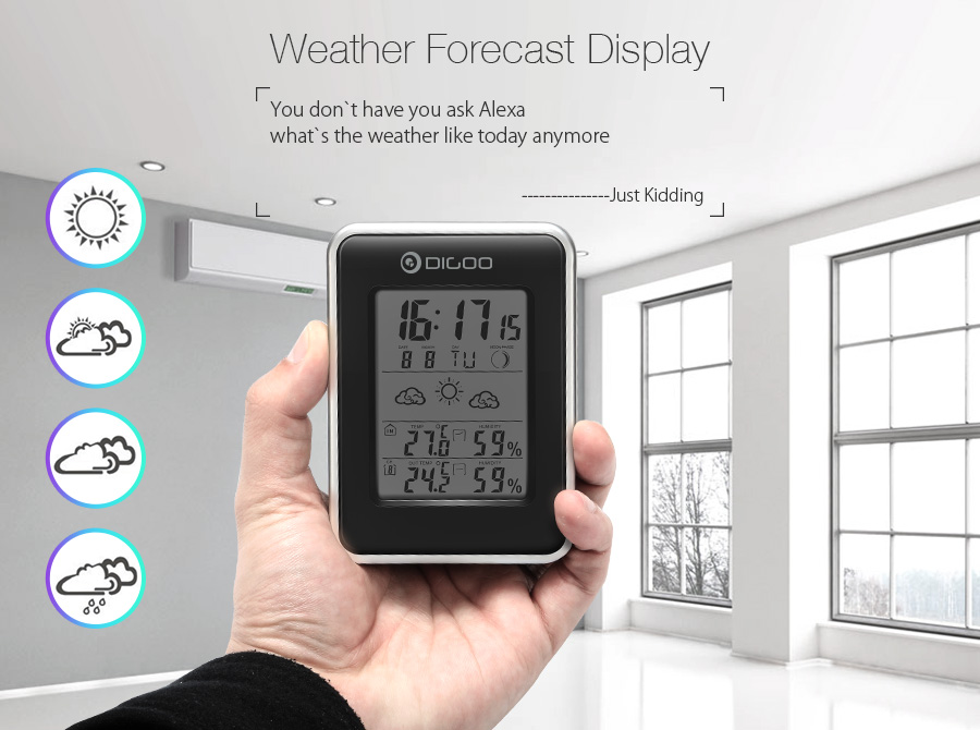 Digoo DG-TH1981 LCD Digital Weather Station + Wireless Outdoor Forecast Sensor Hygrometer Thermometer Clock Blue Backlit