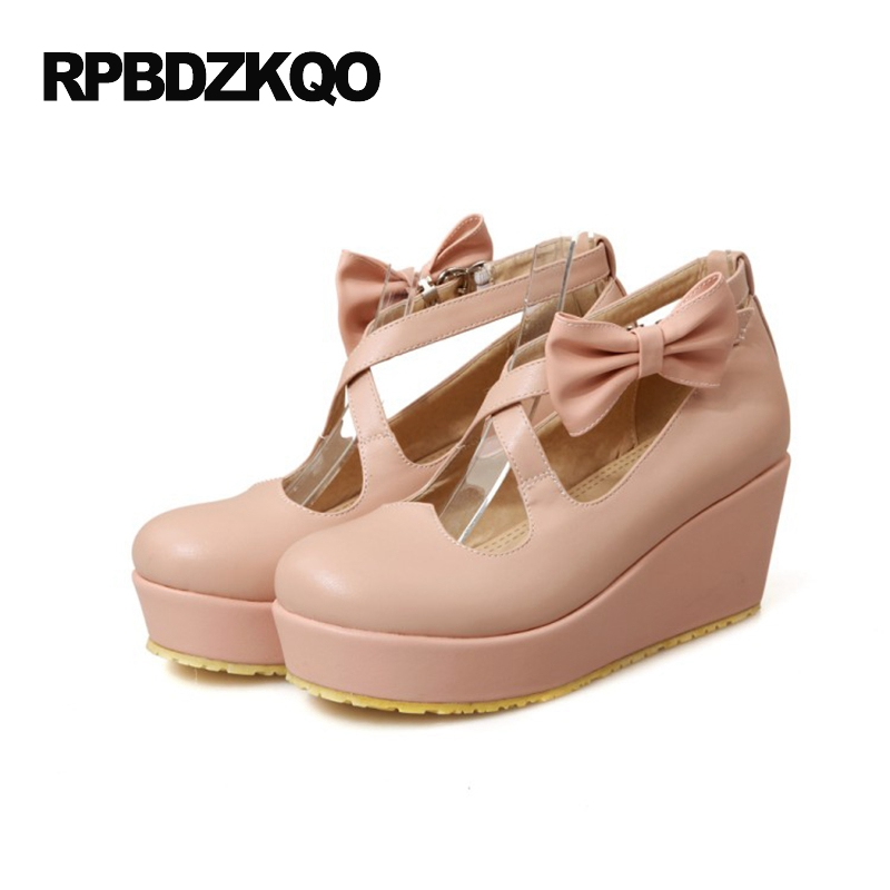 2017 High Heels Pink Kawaii Pumps Platform Shoes Strap Cross Wedge Bow Round Toe Mary Jane Women Size 4 34 3 Inch Autumn Lolita