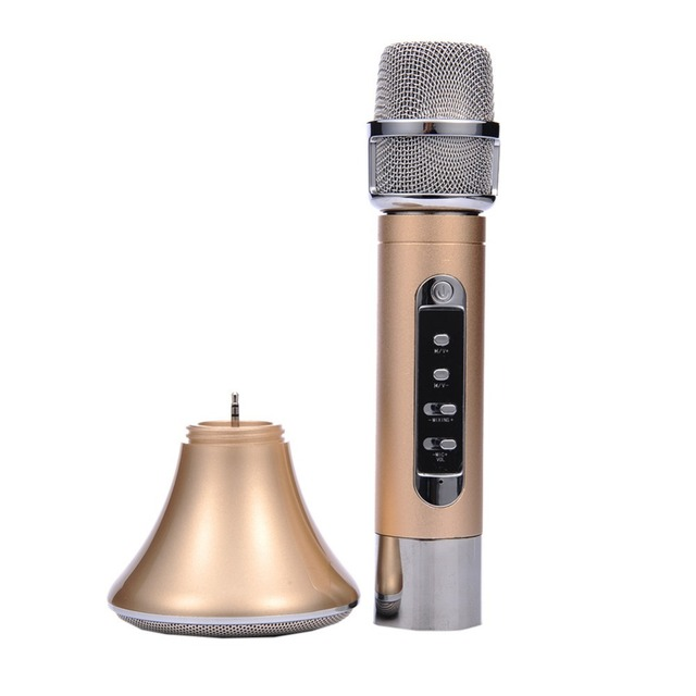 Newest Karaoke Bluetooth Separable microphone/speaker Echo function for iphone Android phone Bluetooth/Audio Cable Connection