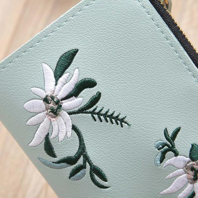 Naivety Embroidery Short Wallet PU Leather Wallets Female Floral Hasp Coin Purse Zipper Bag Card Holders 30S71205 drop shipping 2