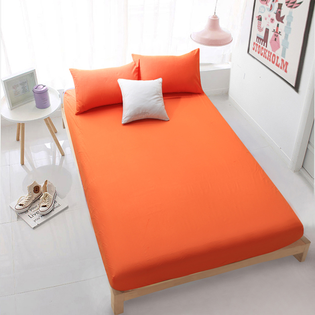 Home Textile Orange Fitted Sheet Bed Sheets Covers Mattress Cover Protector  Set King/Queen/