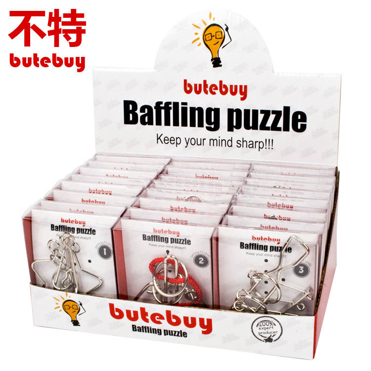 New 24Pcs / Set Baffling puzzl Metal Wire Puzzle IQ Mind Brain Teaser Puzzles Game for Adults Children Kids Gift board games toy