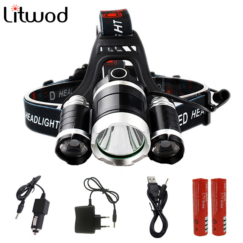 Litwod Z20 9000 Lumen Chips XM-L T6 2R5 LED Head Lamp Flashlight Lanterna 4 Switch Model Led Headlamp Choose For Riding fenix hp25r 1000 lumen headlamp rechargeable led flashlight