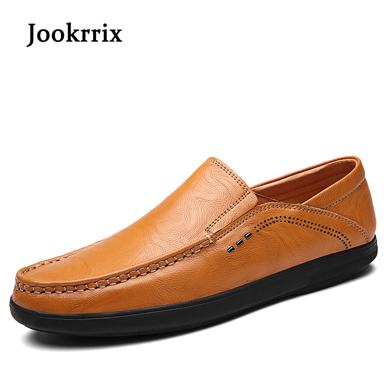 Jookrrix 2018 New Spring Fashion Leisure Black Shoes Men Classic Moccasin Shoe Brown Silp On Soft Youth Male Casual Driving Shoe