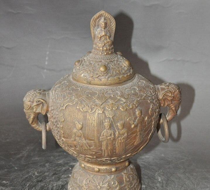 """8""""chinese buddhism bronze fairy god buddha elephant statue incense burner Censer"""