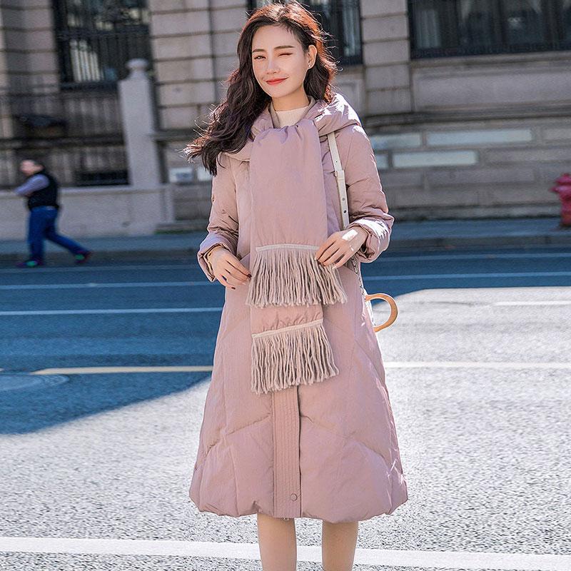 536 Hiver À De Écharpe Duvet Femmes Plume Lâche Manteau Capuche Blanc Vestes Pink Femelle Épais Avec Mode Doudoune 2019 Canard Parka 0POnwk