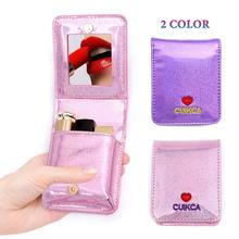 Cute Cosmetic Bag Portable PU Heart Shape Mini Lipstick Makeup Kit Bags Purse Organizer With Mirror For Women Girls Make Up