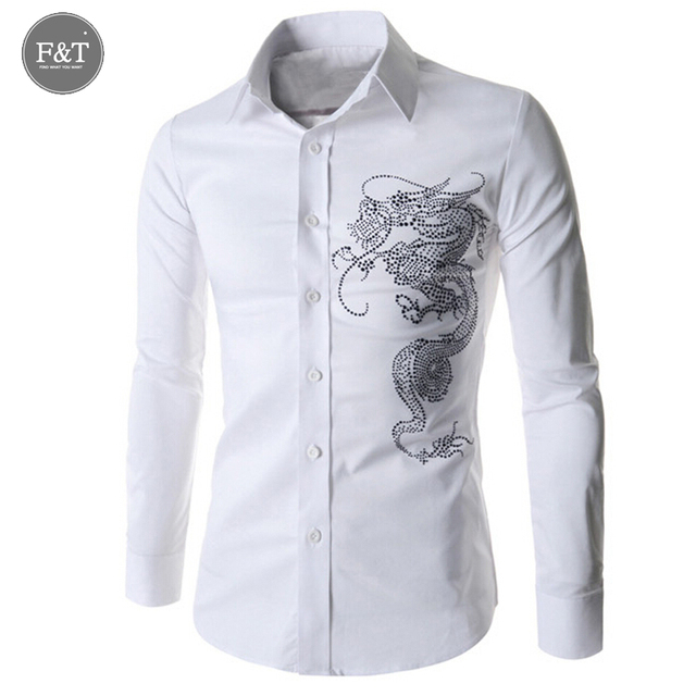 [Asian Size] High Quality Personality brand Chinese Dragon Rhinestone Fashion Social Brand Mens Casual Long Sleeve  dress shirts
