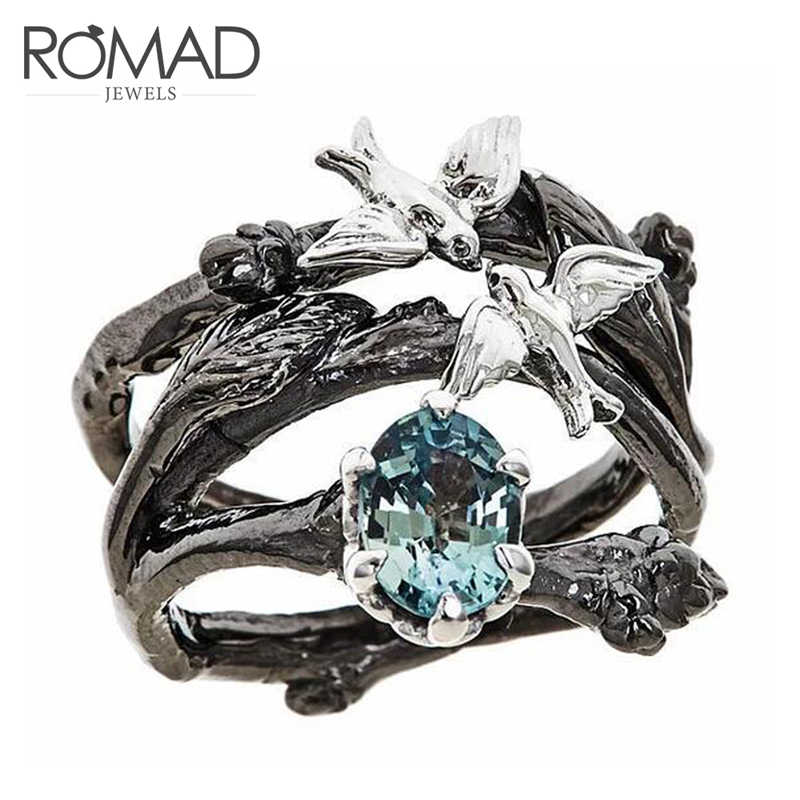 ROMAD Vintage Tree & Birds Ring Jewelry Black Gold Filled Romantic Big Blue CZ Ring Women Dropshipping Bands Finger Ring R3
