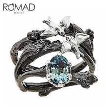 ROMAD Vintage Tree & Birds Ring Jewelry Black Gold Filled Romantic Big Blue CZ Women Dropshipping Bands Finger R3