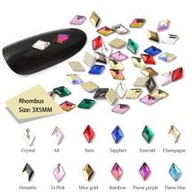 30/100 шт./лот ногтей Стразы 3x5 мм Flatback ромб с цветными камнями для 3D нейл-арта украшения