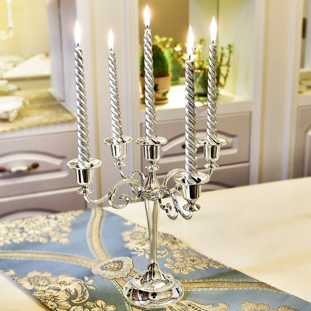 Silver/Gold/Black/Bronze Metal Candle Holder Retro 5-Arms Candelabra Candle Stand Wedding Candlestick Drop Shipping 5