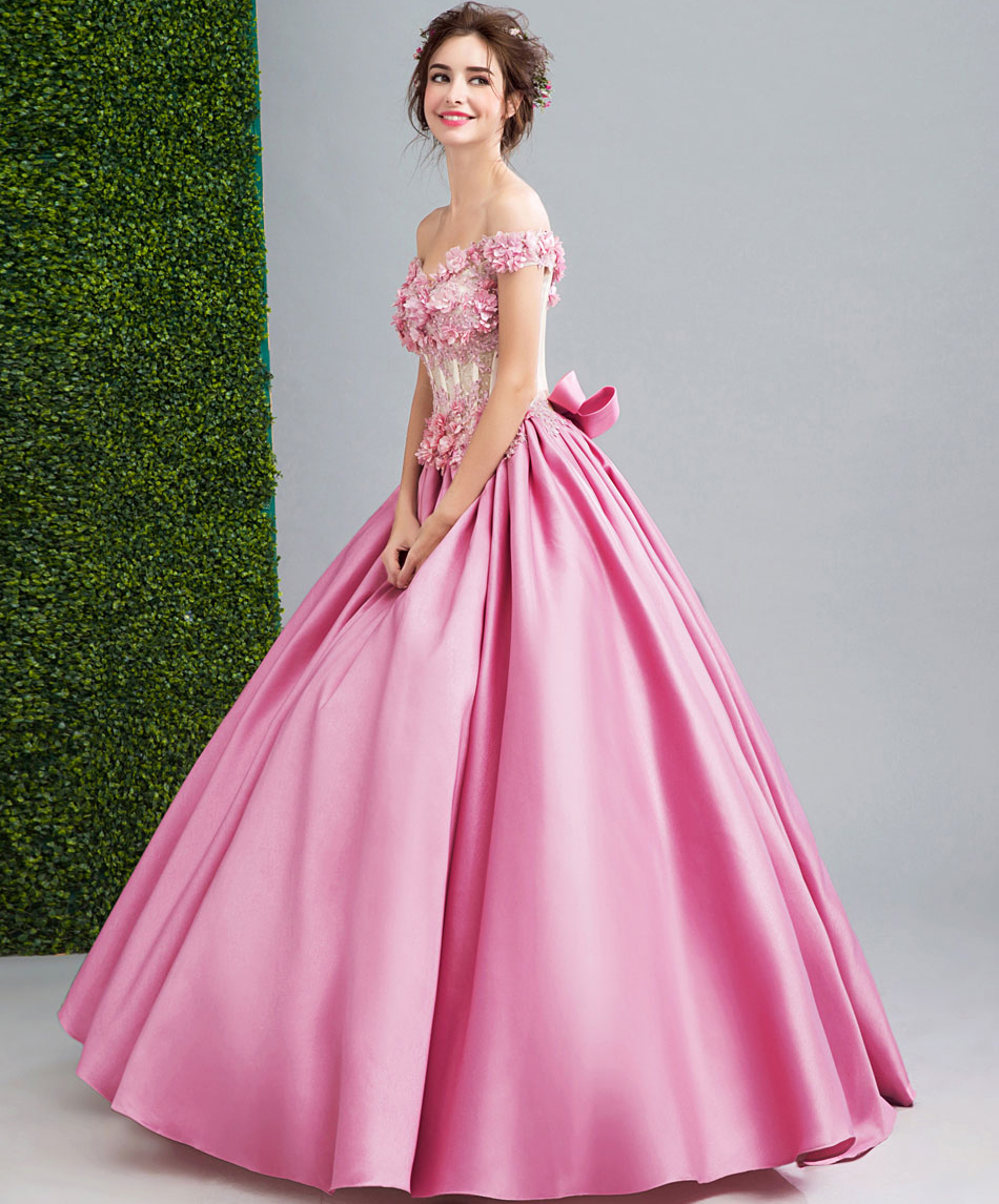 AXJFU hadas fans flores de color rosa vestido de noche Vestidos de ...