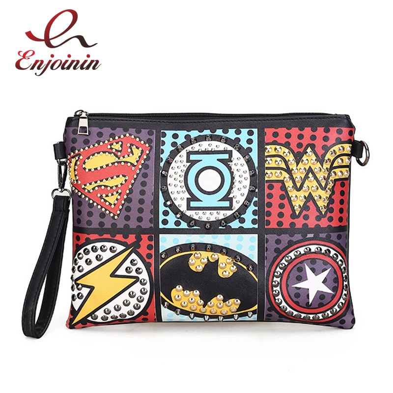 Fashion Retro Supercool Superhero Avengers Rivet Gothic Punk Pu Leather Ladies Handbag Shouolder Bag Day Clutches Envelope Bag